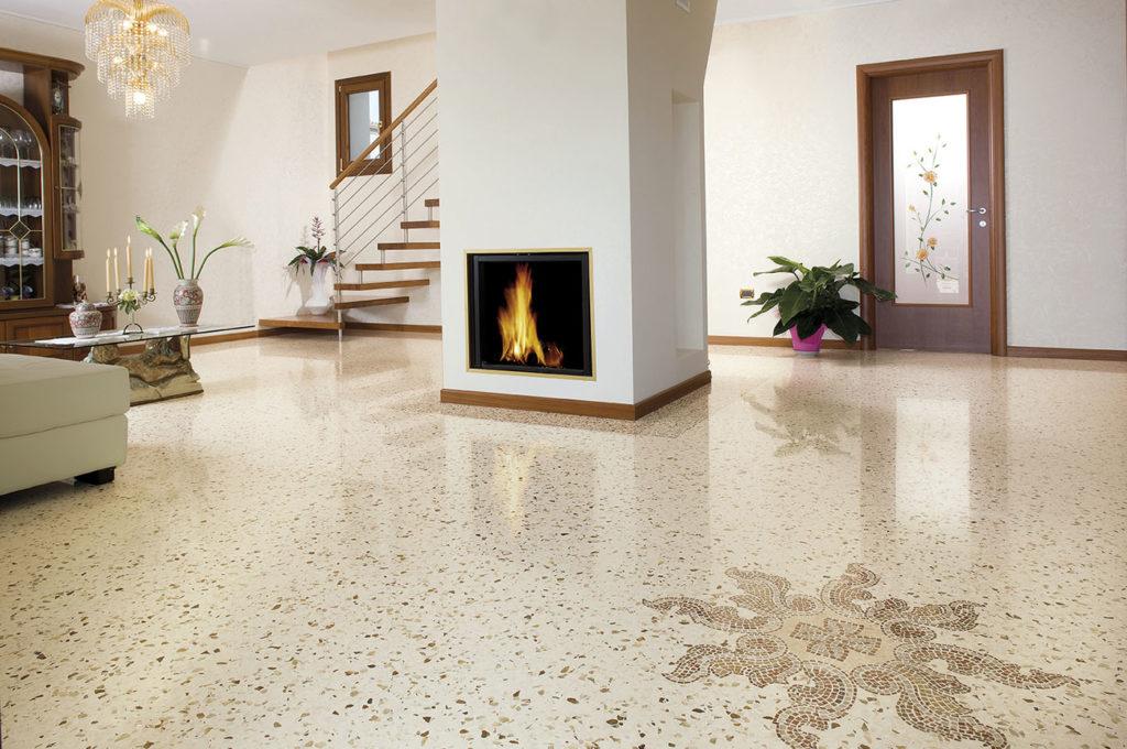 Living con pavimento alla veneziana - Mario Canil - graniglia texture
